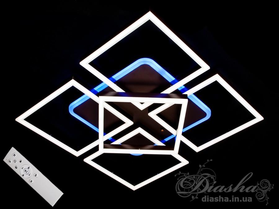 Перед Вами совсем новое и необычное исполнение плафонов, обрамляющих LED лампы. Такая люстра запросто подойдет под любой интерьер – классический, современный и даже в стиле «хай-тек».В комплекте с люстрой идёт самый современный тип пульта с электронным диммером и регулятором цвета. С пульта можно включить один из предустановленных режимов освещения - тёплый свет, холодный свет, нейтральный; включить синюю подсветку или режим