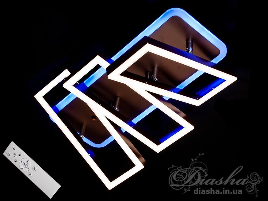 Перед Вами совсем новое и необычное исполнение плафонов, обрамляющих LED лампы. Такая люстра запросто подойдет под любой интерьер – классический, современный и даже в стиле «хай-тек».Светодиодная люстра имеет несколько режимов: холодный 6400К, нейтральный 4500К, тёплый 2700К, синяяLEDподсветка, краснаяLEDподсветка, розоваяLEDподсветка, совмещённый режим — любой основной свет плюс любой цвет светодиодной подсветки — всё зависит от вашего настроения!В комплекте с люстрой идёт самый современный тип пульта с электронным диммером и регулятором цвета. С пульта можно включить один из предустановленных режимов освещения - тёплый свет, холодный свет, нейтральный; включить режим