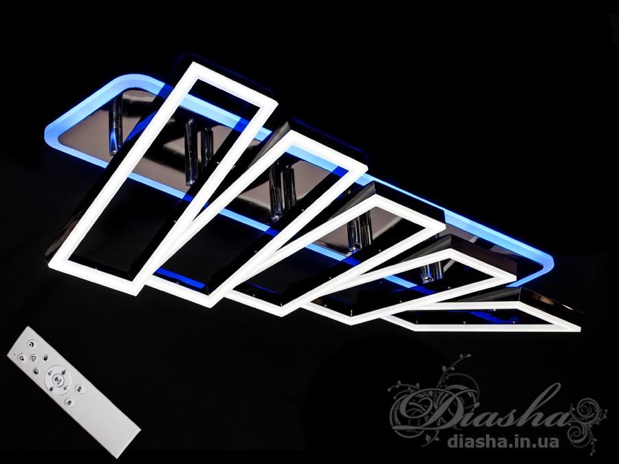 Встречайте самую хитовую модель в эксклюзивном цвете - чёрный хром!Светодиодная люстра имеет много режимов освещения: холодный 6400К, нейтральный 4500К, тёплый 2700К, синяя LED подсветка, совмещённый режим — любой основной свет плюс светодиодная подсветка — всё зависит от вашего настроения!В комплекте с люстрой идёт самый современный тип пульта с электронным диммером и регулятором цвета. С пульта можно включить один из предустановленных режимов освещения - тёплый свет, холодный свет, нейтральный; включить режим