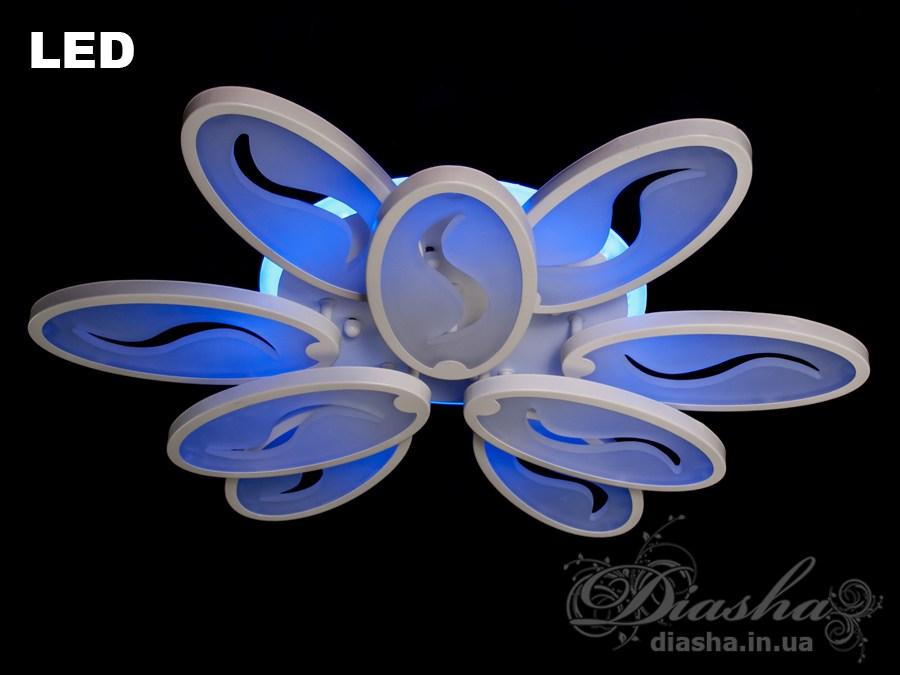 Сверхъяркая светодиодная люстра с цветной подсветкой WПотолочные люстры, Светодиодные люстры, Люстры LED, Потолочные
