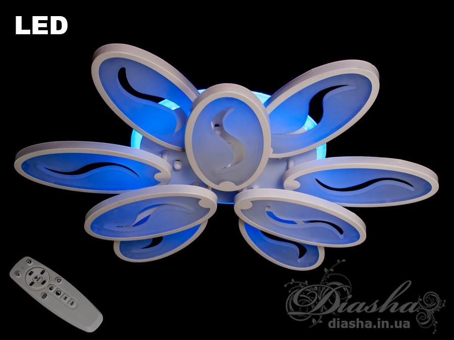 Сверхъяркая светодиодная люстра с цветной подсветкой WПотолочные люстры, Светодиодные люстры, Люстры LED, Потолочные, Новинки