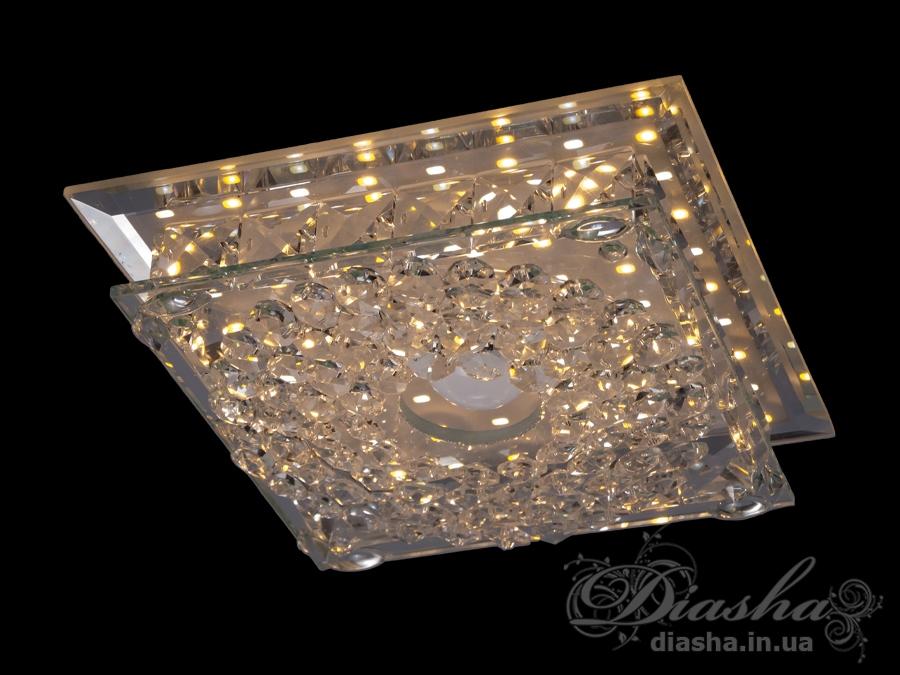 Светильник оснащен встроенным LED модулем 15W. С возможностью выбора цвета свечения. Светодиодный свет преломляется в сотнях граней точечного светильника и равномерно распределяется по помещению.Светильник экономичен, красив, современен и изготовлен из качественного хрусталя, что обеспечивает ему хорошее преломление света и образование четких ярких бликов.Светильники этой модели могут быть установлены в отверстие 100мм, или как накладные светильники. Весь необходимый крепеж в комплекте. Точечные светильники просты и легки в установке, поэтому их монтаж не займет много времени и труда. Они запросто могут изменить пространство помещения. Если точечные светильники установить по периметру потолка, то он будет казаться выше, а сама комната – намного больше.Примите это как руководство к действию. И тогда эти хрустальные точечные светильники будутспособны обеспечить Вам комфорт именно на том уровне, которого Вы так долго ждали!Лампа в комплект не входит.