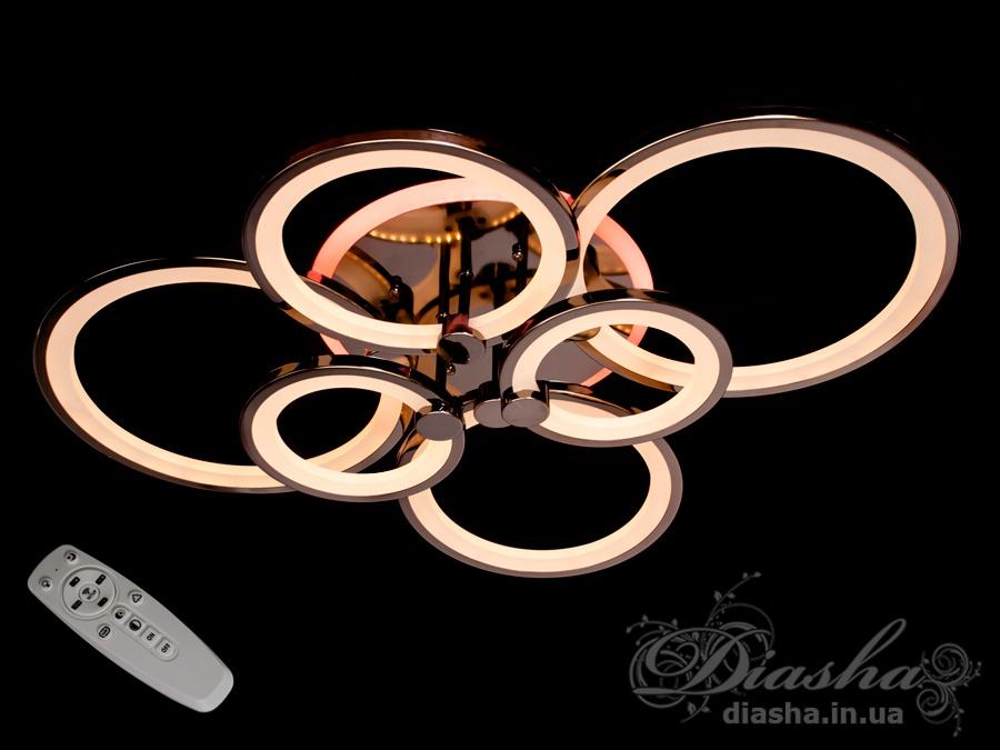 Потолочная люстра с диммером и LED подсветкой, цвет чёрный хром, 160WПотолочные люстры, Светодиодные люстры, Люстры LED, Потолочные, Новинки