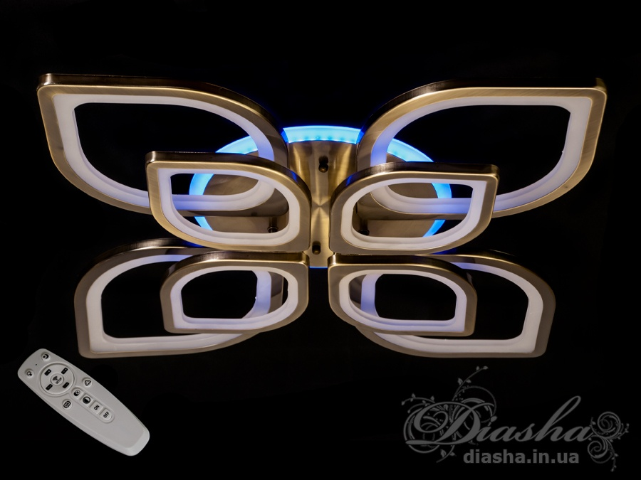 Потолочная LED-люстра с диммером и подсветкой, 155WПотолочные люстры, Светодиодные люстры, Люстры LED, Потолочные