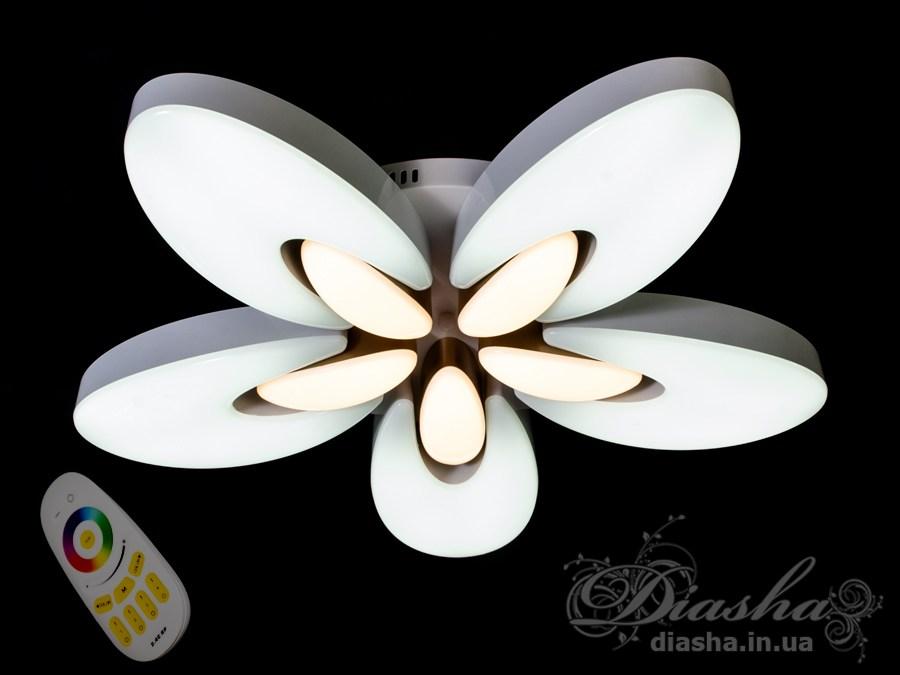 Светильник с регулируемым цветом свечения и цветной подсветкой 65WПотолочные люстры, Светодиодные люстры, светодиодные панели, Люстры LED, Новинки