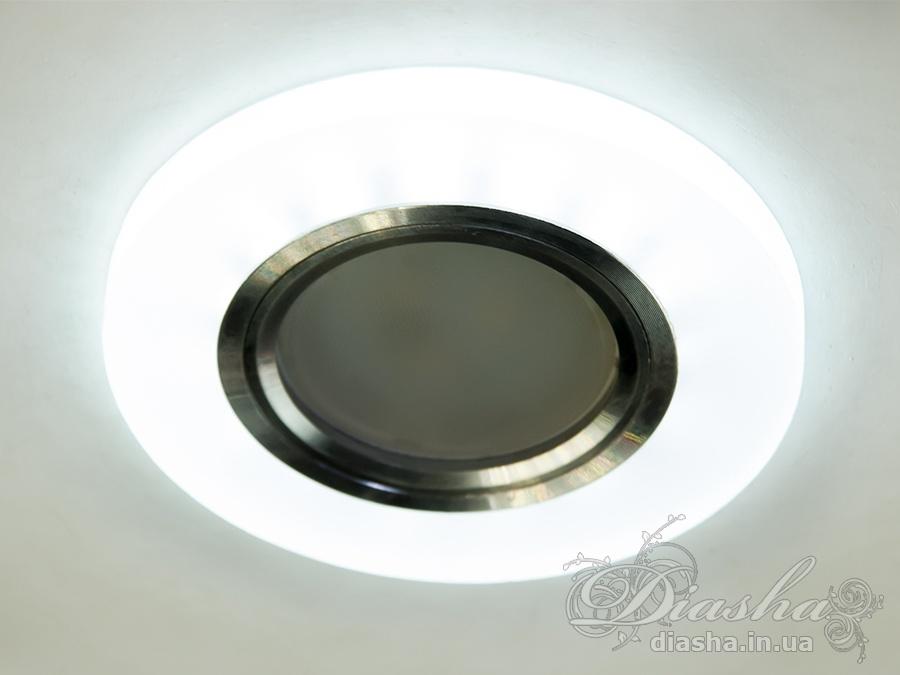 Акриловые точечные светильники с синей подсветкойВрезка, Точечные светильники, Точечные светильники MR-16
