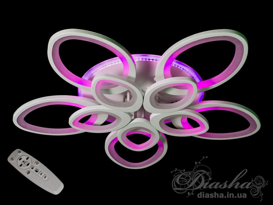 Потолочная LED-люстра с диммером и подсветкой 220WПотолочные люстры, Светодиодные люстры, Люстры LED, Потолочные, Новинки