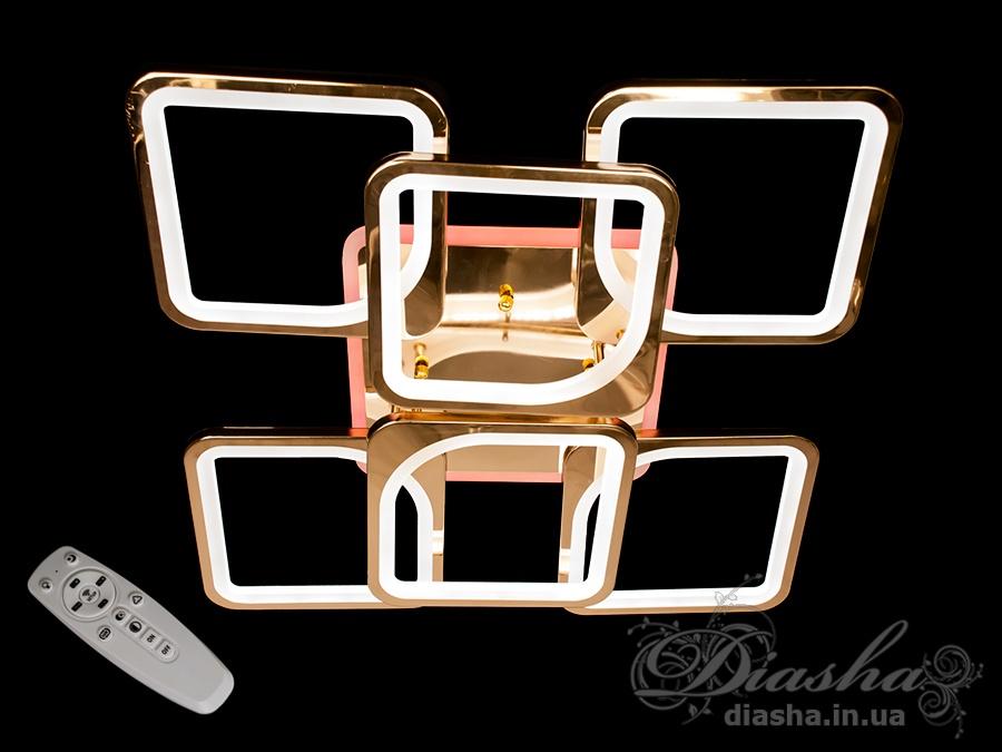 Потолочная люстра с диммером и LED подсветкой, цвет золото, 180WПотолочные люстры, Светодиодные люстры, Люстры LED, Потолочные, Новинки