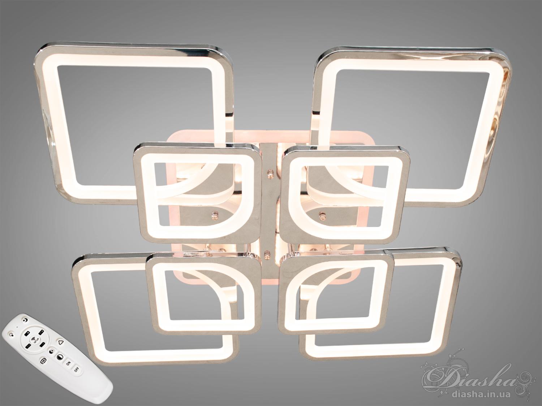 Потолочная люстра с диммером и LED подсветкой, цвет хром, 190WПотолочные люстры, Светодиодные люстры, Люстры LED, Потолочные, Новинки