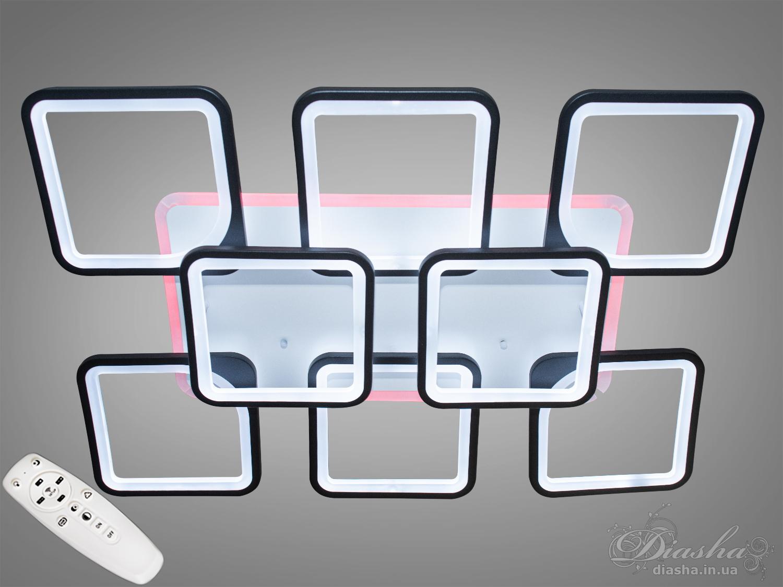 Светодиодная люстра имеет несколько режимов: холодный 6400К, нейтральный 4500К, тёплый 2700К, синяя LED подсветка, красная LED подсветка, розовая LED подсветка, совмещённый режим — любой основной свет плюс любой цвет светодиодной подсветки — всё зависит от вашего настроения!Потолочный светильник имеет электронный димер, что позволяет регулировать яркость люстры от 5% до 100% при помощи пульта, который поставляется вместе с люстрой.Люстра светит ярко, но не слепит за счёт материала — акрила, к тому же этот материал очень прочен — его трудно повредить.Лёгкий вес, небольшая высота, оригинальный дизайн с хромированными или золотыми частями, пульт, димер, дополнительная подсветка разных цветов — вам обязательно понравятся наши люстры!