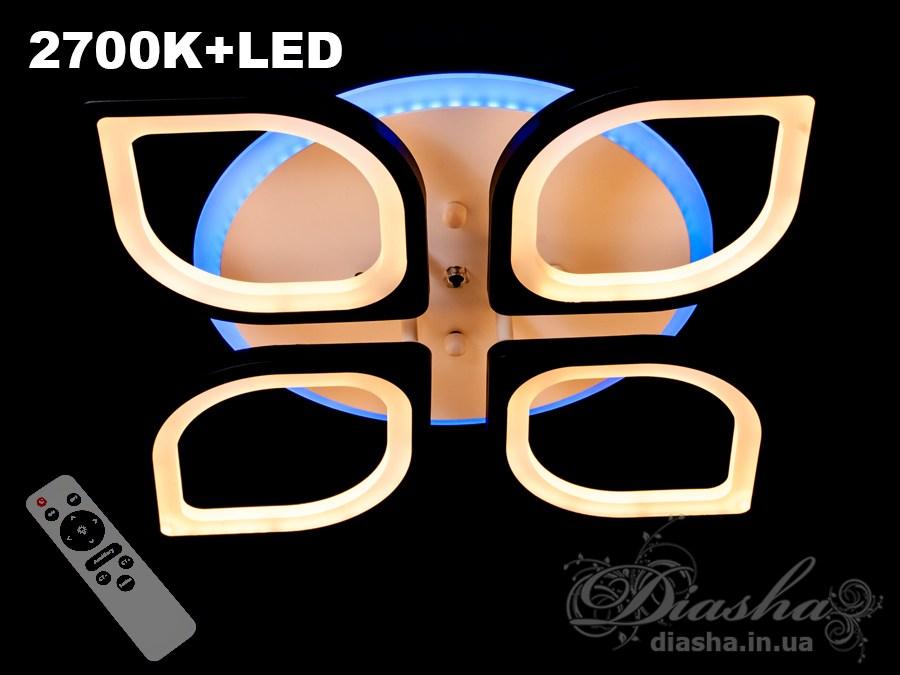Потолочная LED-люстра с диммером и подсветкой, 75WПотолочные люстры, Светодиодные люстры, Люстры LED, Потолочные, Новинки