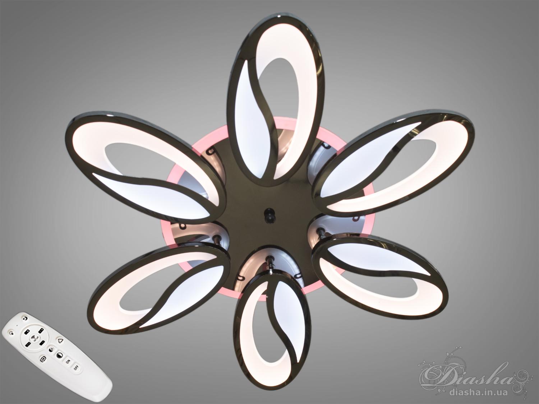 Потолочная люстра с диммером и LED подсветкой, цвет чёрный хром, 105WПотолочные люстры, Светодиодные люстры, Люстры LED, Потолочные, Новинки