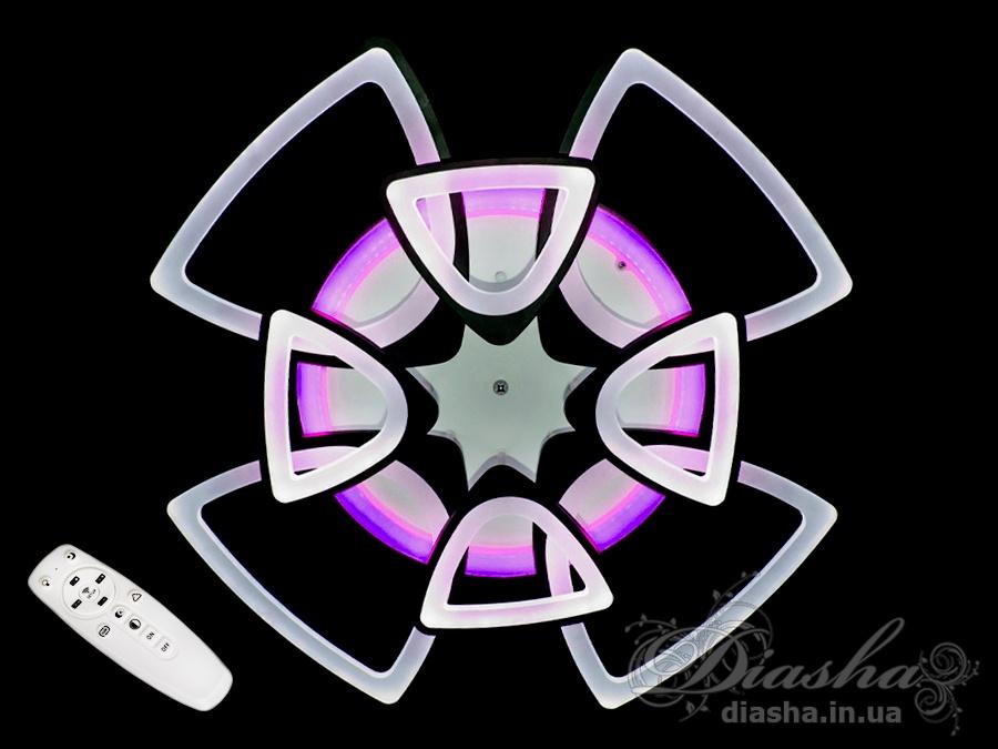 Потолочная LED-люстра с диммером и подсветкой, 180WПотолочные люстры, Светодиодные люстры, Люстры LED, Потолочные