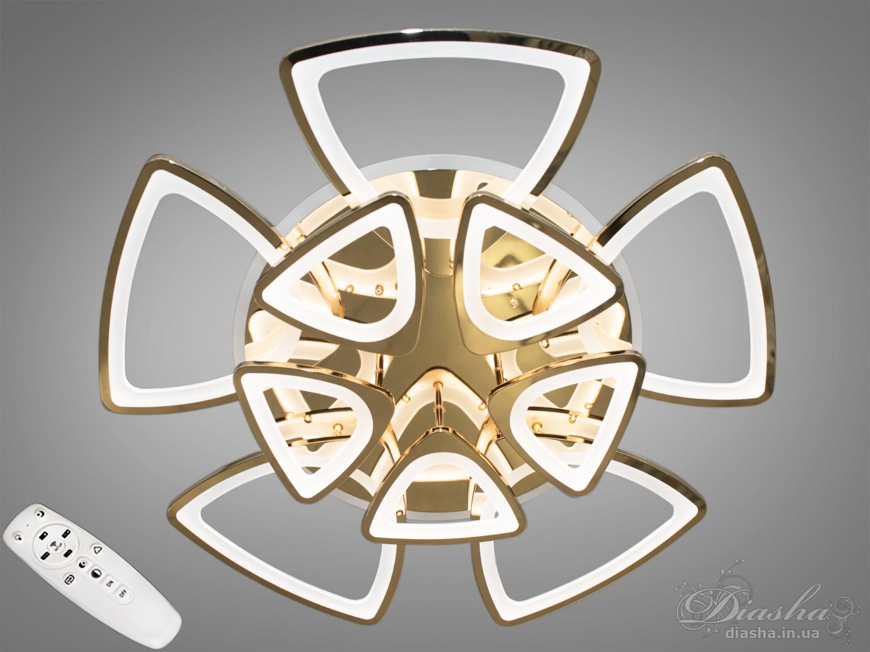 Встречайте популярную форму в золотом и хромированном исполнении!Светодиодная люстра имеет несколько режимов: холодный 6400К, нейтральный 4500К, тёплый 2700К, синяя LED подсветка, красная LED подсветка, розовая LED подсветка, совмещённый режим — любой основной свет плюс любой цвет светодиодной подсветки — всё зависит от вашего настроения!Потолочный светильник имеет электронный димер, что позволяет регулировать яркость люстры от 5% до 100% при помощи пульта, который поставляется вместе с люстрой.Люстра светит ярко, но не слепит за счёт материала — акрила, к тому же этот материал очень прочен — его трудно повредить.Лёгкий вес, небольшая высота, оригинальный дизайн с хромированными или золотыми частями, пульт, димер, дополнительная подсветка разных цветов — вам обязательно понравятся наши люстры!
