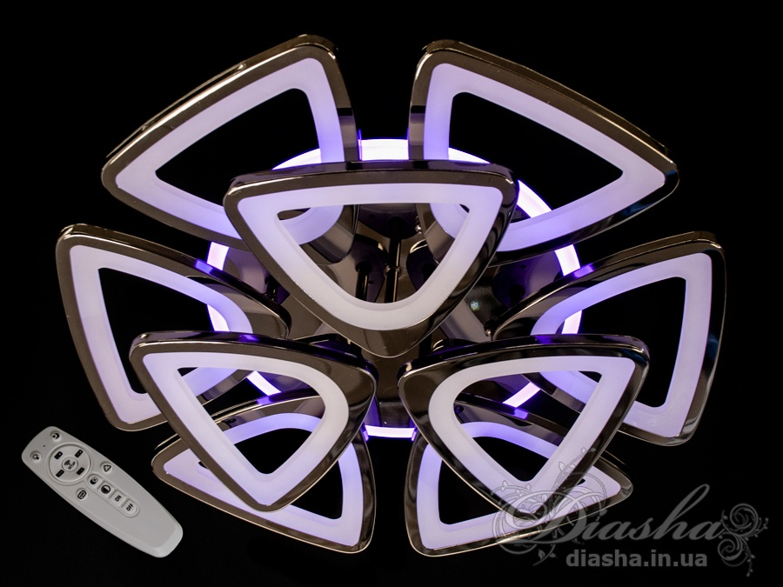 Потолочная люстра с диммером и LED подсветкой, цвет чёрный хром, 110WПотолочные люстры, Светодиодные люстры, Люстры LED, Потолочные, Новинки
