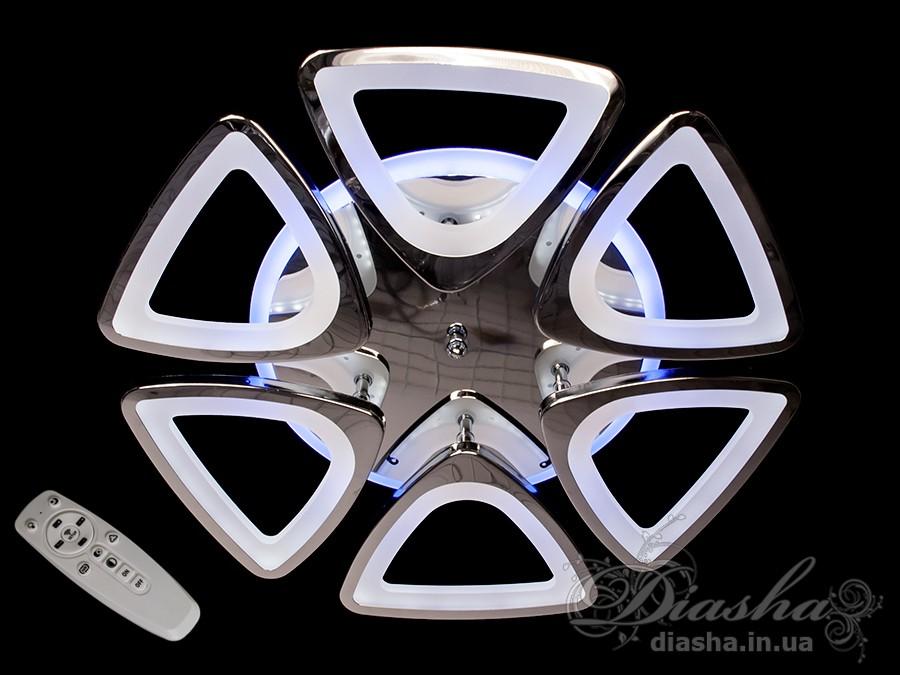 LED-люстра с диммером и синей подсветкой, цвет хром, 115WПотолочные люстры, Светодиодные люстры, Люстры LED, Потолочные, Новинки