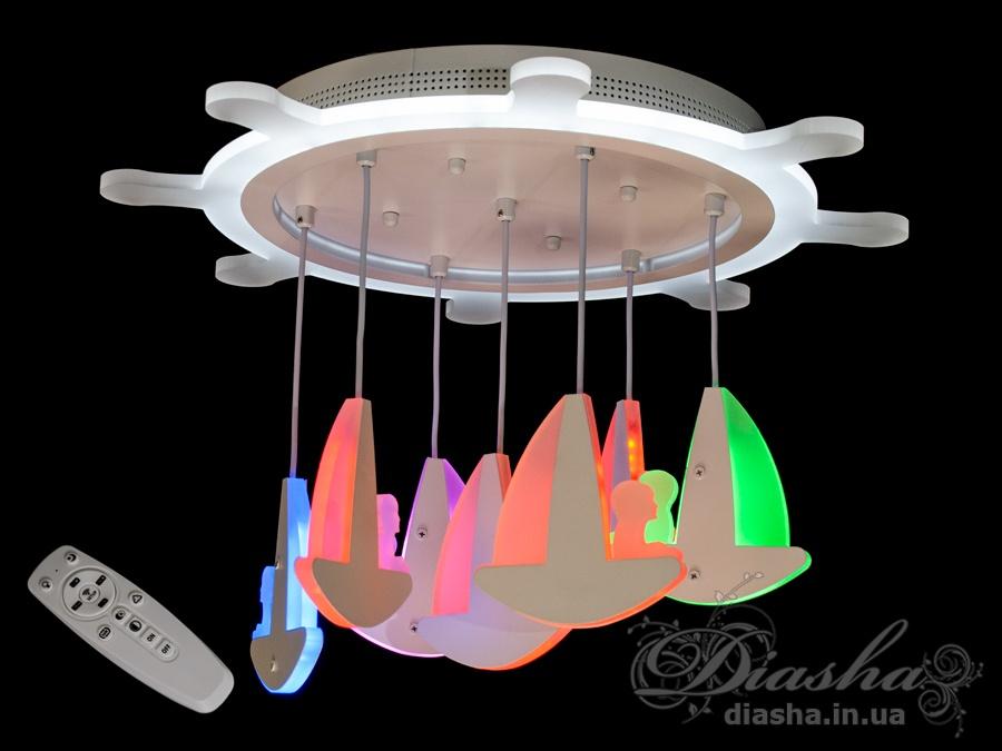 Потолочная LED-люстра с диммером и подсветкой, 95WПотолочные люстры, Светодиодные люстры, Люстры LED, Потолочные