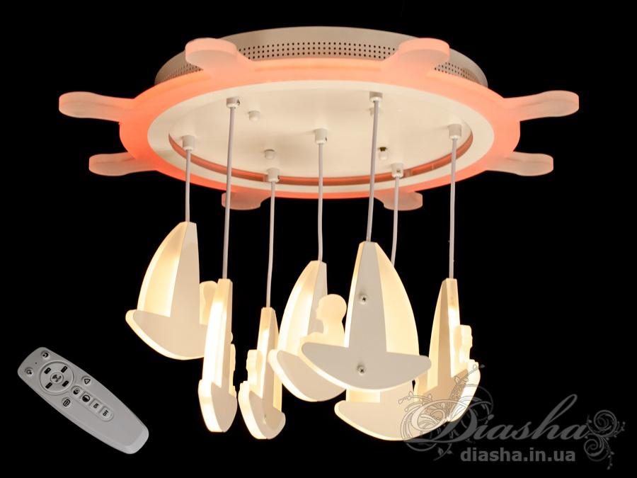 Потолочная LED-люстра с диммером и цветной подсветкой, 95WПотолочные люстры, Светодиодные люстры, Люстры LED, Потолочные