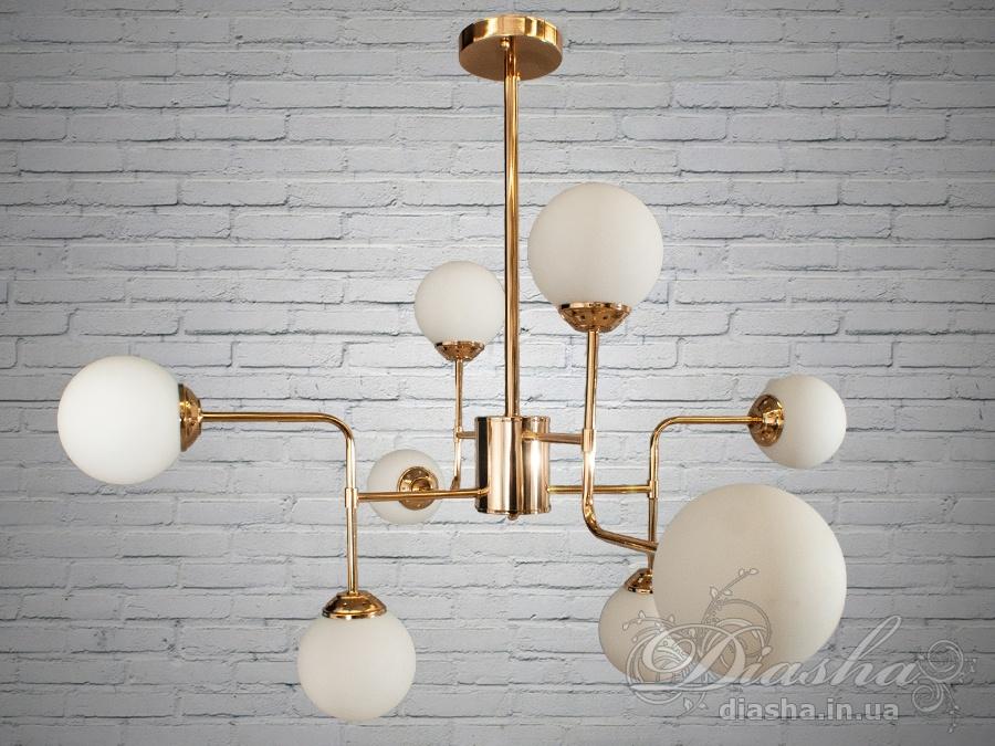 Лаконичный и в тоже время очень стильный дизайн этой люстры на 8 ламп в стиле лофт подойдет для ценителей минимализма и свободы мысли в интерьере.Стиль «Лофт» сейчас очень популярен, его любят как творческие личности, так и весьма практичные люди, предпочитающие комфорт и простоту в интерьере. Люстры в стиле «лофт» идеально впишутся в современные дома, квартиры, кафе, арт-пространства, коворкинги, квеструмы. За счет регулировки шнура можно подобрать оптимальную высоту светильника.В отличие от привычной люстры-молекулы, эта люстра укомплектована более изящными небольшими матовыми плафонами. Люстра специально разработана под светодиодные лампы стандарта G45 с цоколем Е27.