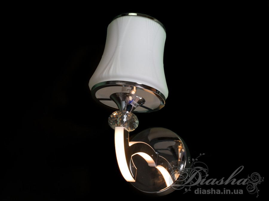 настенное бра на 1 лампу со светящимся рожком выполнено в традиционном классическом стиле, сделано из стекла и металла, может использоваться как самостоятельный светильник (встроенные светодиоды имеют мощность 5W, а также можно поставить лампу мощностью до 40W), так и в качестве дополнения к классическим светодиодным люстрам серии 8341