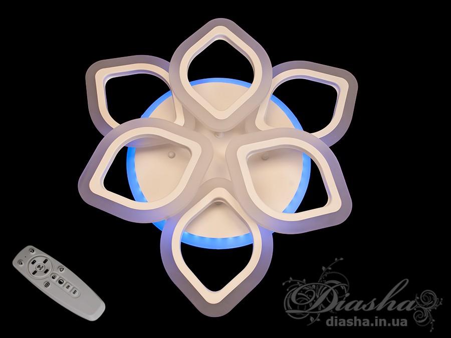 Потолочная LED-люстра с диммером и подсветкой, 65WПотолочные люстры, Светодиодные люстры, Люстры LED, Потолочные, Новинки