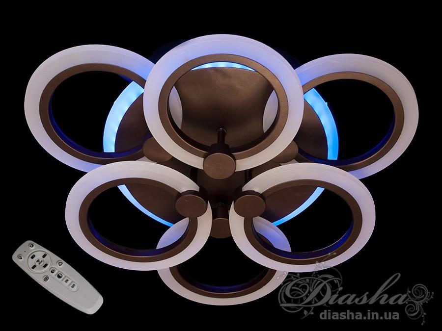 Потолочная LED-люстра с диммером и подсветкой, 70WПотолочные люстры, Светодиодные люстры, Люстры LED, Потолочные, Новинки
