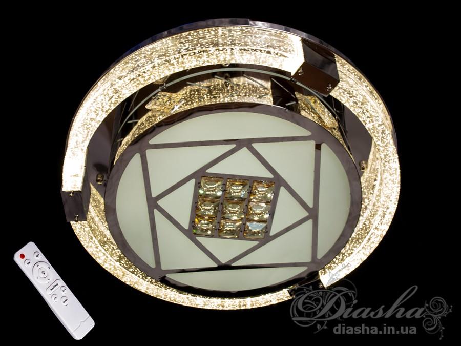 Изящные накладные светодиодные светильники предназначены для создания яркого светодиодного освещения с регулируемой цветовой температурой от тёплого белого до холодного белого. И при этом являться украшением интерьера, а не просто утилитарным светильником как обычная светодиодная панель.В комплекте с люстрой идёт самый современный тип пульта с электронным диммером и регулятором цвета. С пульта можно включить один из предустановленных режимов освещения - тёплый свет, холодный свет, нейтральный; включить режим
