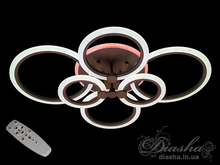Потолочная LED-люстра с диммером и подсветкой, 130WПотолочные люстры, Светодиодные люстры, Люстры LED, Потолочные, Новинки