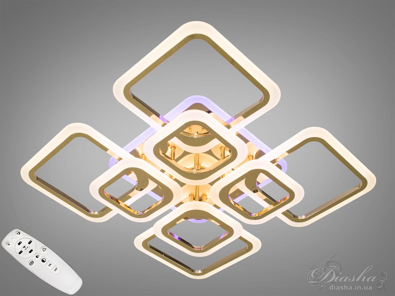 Потолочная люстра с диммером и LED подсветкой, цвет золото, 150WПотолочные люстры, Светодиодные люстры, Люстры LED, Потолочные, Новинки