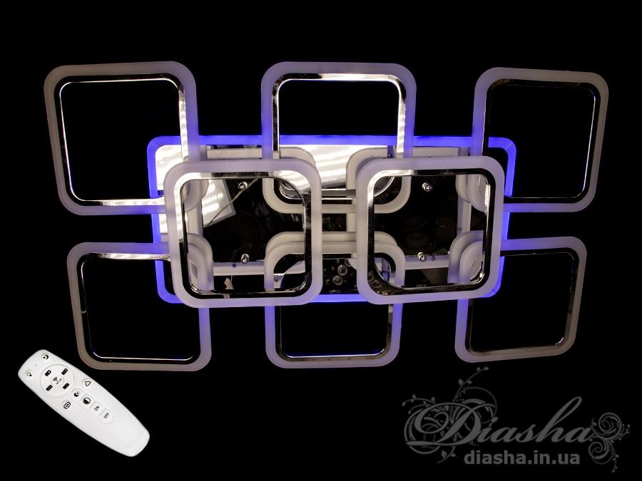 Потолочная люстра с диммером и LED подсветкой, цвет чёрный хром, 190WСерия