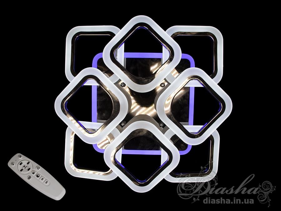 Встречайте самую хитовую модель в эксклюзивном цвете - чёрный хром! Светодиодная люстра имеет несколько режимов: холодный 6400К, нейтральный 4500К, тёплый 2700К, синяя LED подсветка, красная LED подсветка, розовая LED подсветка, совмещённый режим — любой основной свет плюс любой цвет светодиодной подсветки — всё зависит от вашего настроения! Потолочный светильник имеет электронный димер, что позволяет регулировать яркость люстры от 5% до 100% при помощи пульта, который поставляется вместе с люстрой. Люстра светит ярко, но не слепит за счёт материала — акрила, к тому же этот материал очень прочен — его трудно повредить. Лёгкий вес, небольшая высота, оригинальный дизайн с хромированными частями, пульт, димер, дополнительная подсветка разных цветов — вам обязательно понравятся наши люстры!