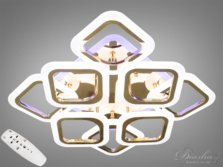 Потолочная люстра с диммером и LED подсветкой, цвет золото, 110WПотолочные люстры, Светодиодные люстры, Люстры LED, Потолочные, Новинки