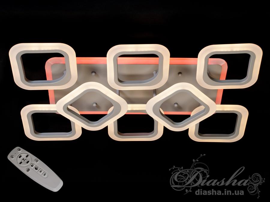 Потолочная LED люстра с димером и цветной подсветкой 115WПотолочные люстры, Светодиодные люстры, Люстры LED, Потолочные, Новинки