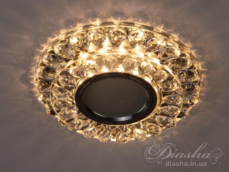 Хрустальный точечный светильник со встроенной LED подсветкойВрезка, Точечные светильники, Хрустальные точечные светильники, Точечные светильники MR-16
