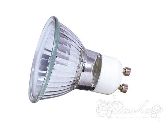 Галогенная лампа — лампа накаливания, в баллон которой добавлен буферный газ: пары галогенов (брома или йода). Это повышает время жизни лампы до 2000—4000 часов, и позволяет повысить температуру спирали. При этом рабочая температура спирали составляет примерно 3000 К.Добавление галогенов предотвращает осаждение вольфрама на стекле, при условии, что температура стекла выше 250 °C. По причине отсутствия почернения колбы, галогенные лампы можно изготавливать очень компактными. Малый объём колбы позволяет, с одной стороны, использовать большее рабочее давление (что опять же ведёт к уменьшению скорости испарения нити) и, с другой стороны, без существенного увеличения стоимости заполнять колбу тяжёлыми инертными газами, что ведёт к уменьшению потерь энергии за счёт теплопроводности. Всё это увеличивает время жизни галогенных ламп и повышает их эффективность. Компактность галогеновых ламп дает большую свободу в дизайне светильников, ведь больше не нужно прятать громоздкую