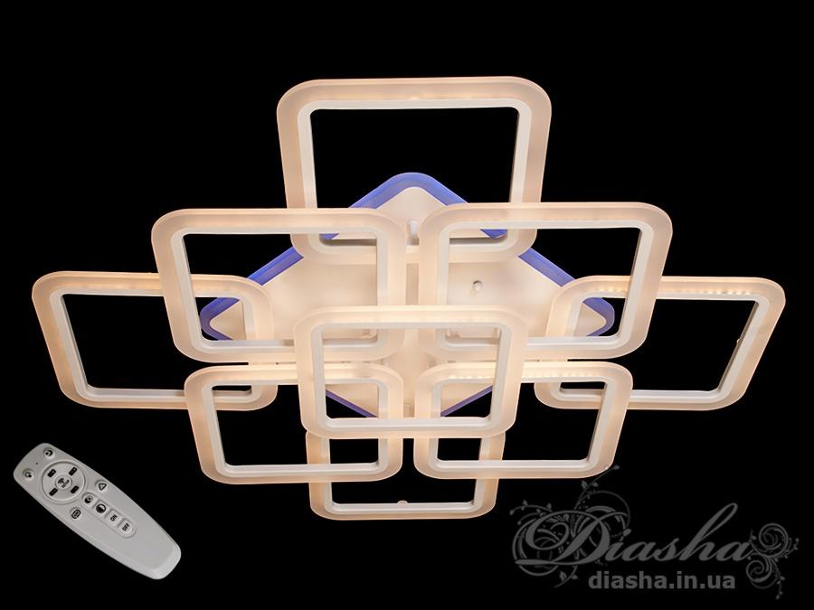 Потолочная LED-люстра с диммером и подсветкой, 190WПотолочные люстры, Светодиодные люстры, Люстры LED, Потолочные