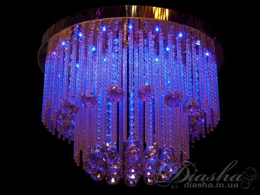 Хрустальная люстра, дополненная, а лучше сказать украшенная, светодиодной подсветкой может очаровать любого покупателя. Её необыкновенный и восхитительный дизайн будет к месту в любой комнате – будь-то уютная гостиная или очаровательная спальня.  Светодиодная подсветка имеет следующие режимы: перелив - плавный переход синий-розовый-красный-розовый-синий, смена цветов - синий-розовый-красный горят по выбору от 1 до 5 секунд, а также остановленный цвет. Все управление светодиодами производится при помощи одной кнопки на пульте!Режим светодиодной подсветки простоидеален для включения ночью-Вы все увидите, и не будет долгого привыкания к яркому свету.Ведьсветодиоды, в отличии отостальныхтипов осветительных приборов, не мерцают, имеют низкое тепловыделение, а значит пожаробезопасны и практически вся потребленная энергия превращается в свет, а это, в свою очередь, - экономичность. Также возможно исполнение металлических частей в золотом или хромированном вариантах. И еще одно неоценимое достоинство – возможность применения различного типа ламп: это могут быть и лампы накаливания, и компактные люминесцентные лампы «экономки», и современные сверхэкономные светодиодные лампы на патрон Е14.