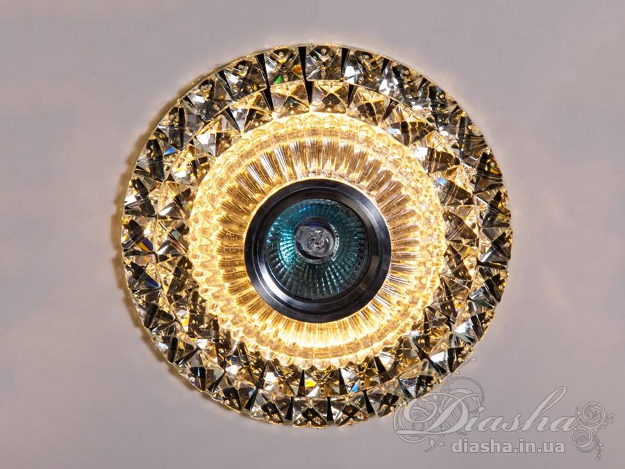 Хрустальный точечный светильник со встроенной LED лампойВрезка, Точечные светильники, Хрустальные точечные светильники, Точечные светильники MR-16, Новинки