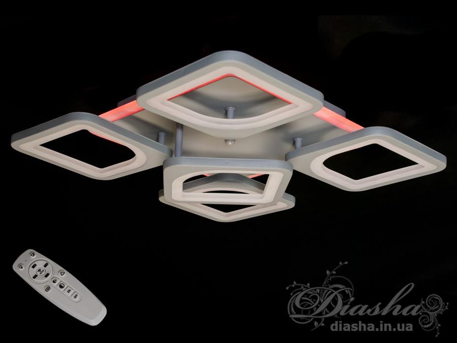 Простые геометрические формы, лёгкий вес, небольшая высота, прочный корпус, функциональность этой люстры отлично подойдут для новостроек и современного интерьера.Люстра поставляется в заводской упаковке, электрика уже собрана. LED люстра состоит из светодиодной ленты, блока питания светодиодной ленты, электронного димера и блока управления пультом. Пульт также в комплекте.Светодиодная люстра даёт мягкий рассеянный свет тёплого, холодного или нейтрального свечения. LED подсветка даёт примерно 10Вт и светит синим, красным или розовым светом. Благодаря димеру вы можете регулировать яркость люстры вплоть до режима ночника, а это 5% основного света. Всё управление происходит с помощью пульта.