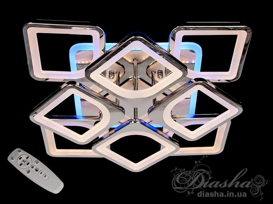 LED-люстра с диммером и цветной подсветкой, цвет хром, 150WПотолочные люстры, Светодиодные люстры, Люстры LED, Потолочные, Новинки