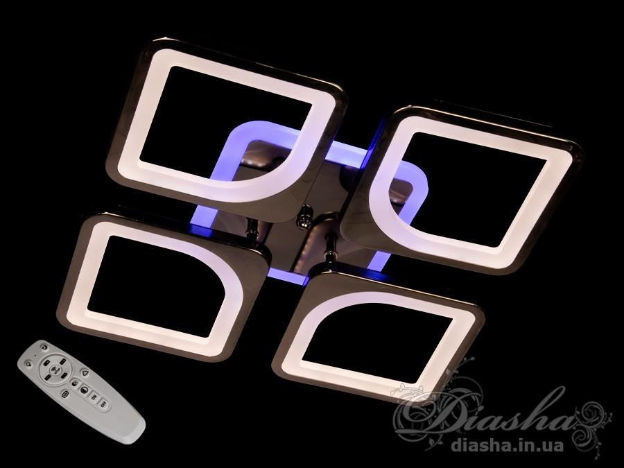 Встречайте самую хитовую модель в эксклюзивном цвете - чёрный хром!Светодиодная люстра имеет несколько режимов: холодный 6400К, нейтральный 4500К, тёплый 2700К, синяя LED подсветка, красная LED подсветка, розовая LED подсветка, совмещённый режим — любой основной свет плюс любой цвет светодиодной подсветки — всё зависит от вашего настроения!Потолочный светильник имеет электронный димер, что позволяет регулировать яркость люстры от 5% до 100% при помощи пульта, который поставляется вместе с люстрой.Люстра светит ярко, но не слепит за счёт материала — акрила, к тому же этот материал очень прочен — его трудно повредить.Лёгкий вес, небольшая высота, оригинальный дизайн с хромированными частями, пульт, димер, дополнительная подсветка разных цветов — вам обязательно понравятся наши люстры!