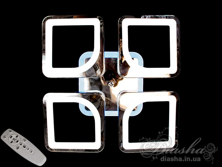 Светодиодная люстра с пультом и LED подсветкой, цвет хром, 80WПотолочные люстры, Светодиодные люстры, Люстры LED, Потолочные, Новинки