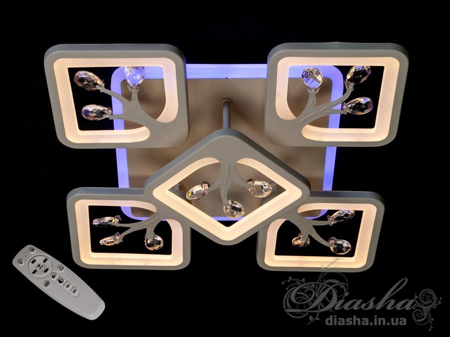 LED люстра с димером и подсветкой, 105WПотолочные люстры, Светодиодные люстры, Люстры LED, Потолочные, Новинки
