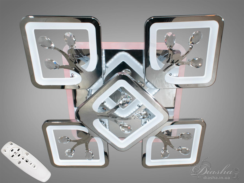 Потолочная люстра с диммером и LED подсветкой, цвет хром, 110WПотолочные люстры, Светодиодные люстры, Люстры LED, Потолочные, Новинки