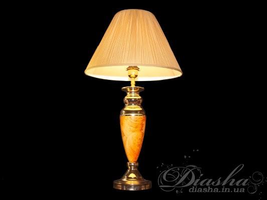 Настольная лампа с классическим большим тканевым абажуромНастольные лампы, Торшеры